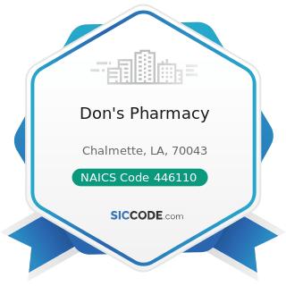 Don's Pharmacy - NAICS Code 446110 - Pharmacies and Drug Stores