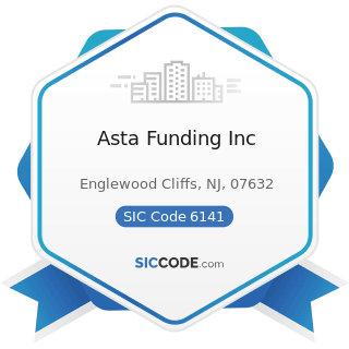 Asta Funding Inc - SIC Code 6141 - Personal Credit Institutions