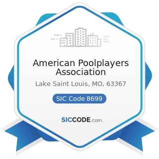American Poolplayers Association - SIC Code 8699 - Membership Organizations, Not Elsewhere...