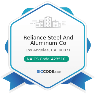 Reliance Steel And Aluminum Co - NAICS Code 423510 - Metal Service Centers and Other Metal...