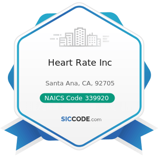 Heart Rate Inc - NAICS Code 339920 - Sporting and Athletic Goods Manufacturing