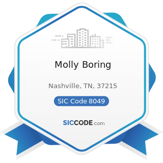 Molly Boring - SIC Code 8049 - Offices and Clinics of Health Practitioners, Not Elsewhere...
