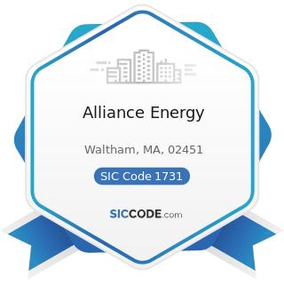Alliance Energy - SIC Code 1731 - Electrical Work