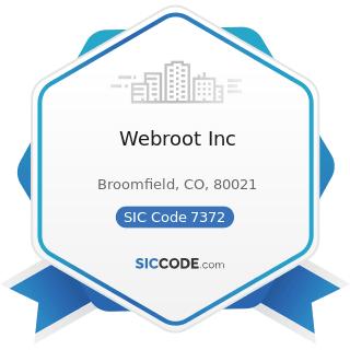 Webroot Inc - SIC Code 7372 - Prepackaged Software