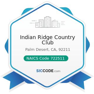 Indian Ridge Country Club - NAICS Code 722511 - Full-Service Restaurants