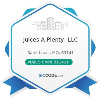 Juices A Plenty, LLC - NAICS Code 311421 - Fruit and Vegetable Canning