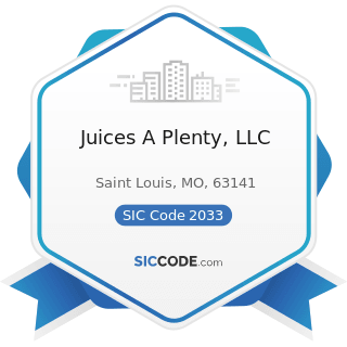Juices A Plenty, LLC - SIC Code 2033 - Canned Fruits, Vegetables, Preserves, Jams, and Jellies