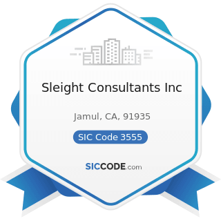 Sleight Consultants Inc - SIC Code 3555 - Printing Trades Machinery and Equipment