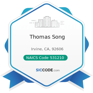 Thomas Song - NAICS Code 531210 - Offices of Real Estate Agents and Brokers
