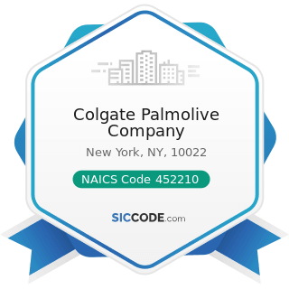Colgate Palmolive Company - NAICS Code 452210 - Department Stores