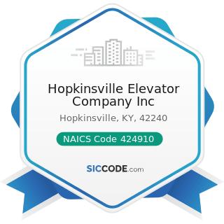 Hopkinsville Elevator Company Inc - NAICS Code 424910 - Farm Supplies Merchant Wholesalers