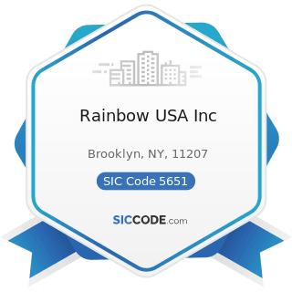 Rainbow USA Inc - SIC Code 5651 - Family Clothing Stores