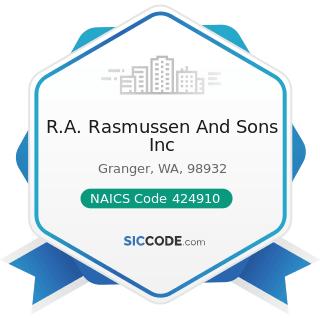 R.A. Rasmussen And Sons Inc - NAICS Code 424910 - Farm Supplies Merchant Wholesalers