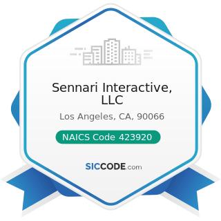 Sennari Interactive, LLC - NAICS Code 423920 - Toy and Hobby Goods and Supplies Merchant...
