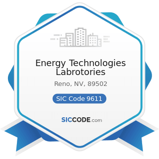 Energy Technologies Labrotories - SIC Code 9611 - Administration of General Economic Programs