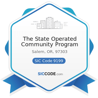 The State Operated Community Program - SIC Code 9199 - General Government, Not Elsewhere...