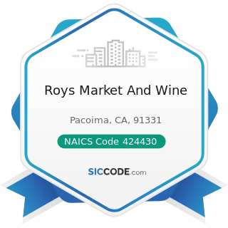 Roys Market And Wine - NAICS Code 424430 - Dairy Product (except Dried or Canned) Merchant...