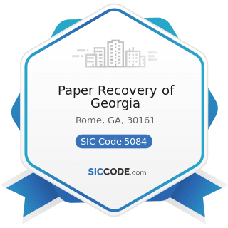 Paper Recovery of Georgia - SIC Code 5084 - Industrial Machinery and Equipment
