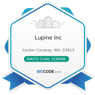 Lupine Inc - NAICS Code 316998 - All Other Leather Good and Allied Product Manufacturing