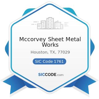 Mccorvey Sheet Metal Works - SIC Code 1761 - Roofing, Siding, and Sheet Metal Work