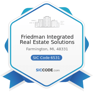 Friedman Integrated Real Estate Solutions - SIC Code 6531 - Real Estate Agents and Managers