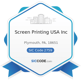 Screen Printing USA Inc - SIC Code 2759 - Commercial Printing, Not Elsewhere Classified