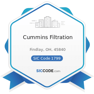 Cummins Filtration - SIC Code 1799 - Special Trade Contractors, Not Elsewhere Classified