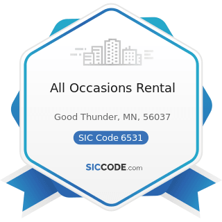 All Occasions Rental - SIC Code 6531 - Real Estate Agents and Managers