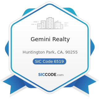 Gemini Realty - SIC Code 6519 - Lessors of Real Property, Not Elsewhere Classified