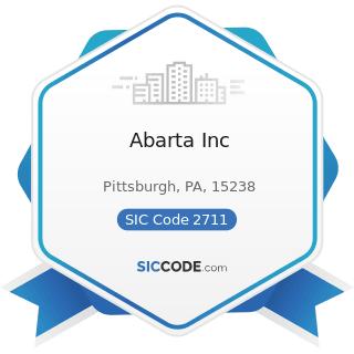 Abarta Inc - SIC Code 2711 - Newspapers: Publishing, or Publishing and Printing