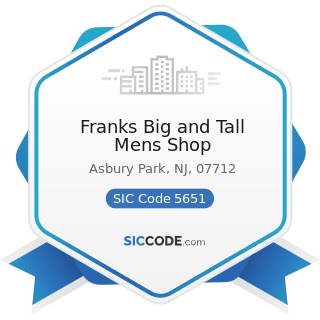 Franks Big and Tall Mens Shop - SIC Code 5651 - Family Clothing Stores