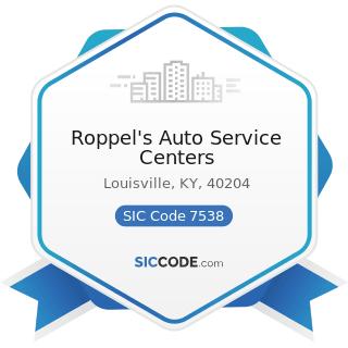 Roppel's Auto Service Centers - SIC Code 7538 - General Automotive Repair Shops