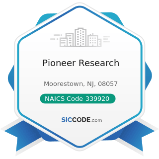 Pioneer Research - NAICS Code 339920 - Sporting and Athletic Goods Manufacturing