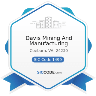 Davis Mining And Manufacturing - SIC Code 1499 - Miscellaneous Nonmetallic Minerals, except Fuels