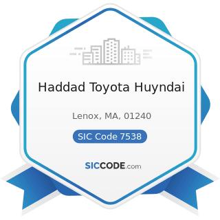 Haddad Toyota Huyndai - SIC Code 7538 - General Automotive Repair Shops