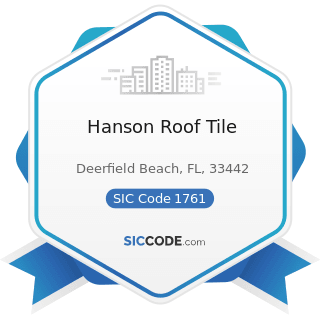Hanson Roof Tile - SIC Code 1761 - Roofing, Siding, and Sheet Metal Work