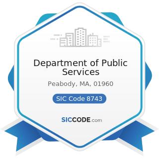 Department of Public Services - SIC Code 8743 - Public Relations Services