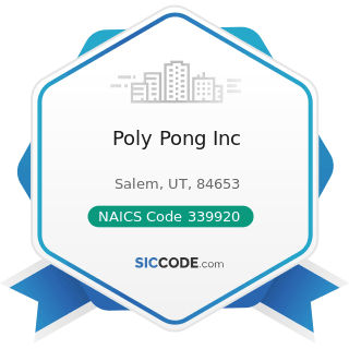 Poly Pong Inc - NAICS Code 339920 - Sporting and Athletic Goods Manufacturing