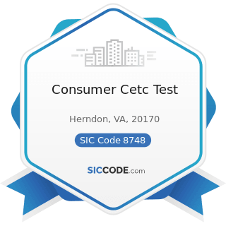 Consumer Cetc Test - SIC Code 8748 - Business Consulting Services, Not Elsewhere Classified