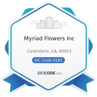 Myriad Flowers Inc - SIC Code 0181 - Ornamental Floriculture and Nursery Products