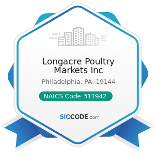 Longacre Poultry Markets Inc - NAICS Code 311942 - Spice and Extract Manufacturing