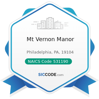 Mt Vernon Manor - NAICS Code 531190 - Lessors of Other Real Estate Property