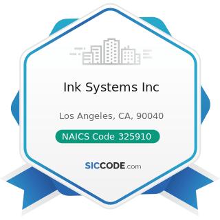 Ink Systems Inc - NAICS Code 325910 - Printing Ink Manufacturing