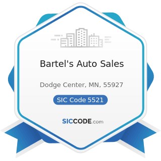 Bartel's Auto Sales - SIC Code 5521 - Motor Vehicle Dealers (Used Only)