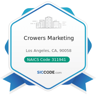 Crowers Marketing - NAICS Code 311941 - Mayonnaise, Dressing, and Other Prepared Sauce...