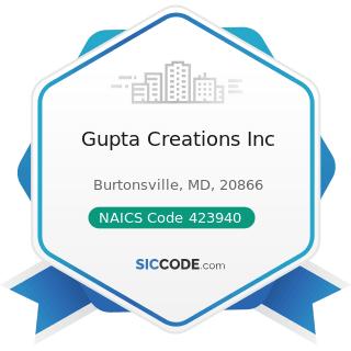 Gupta Creations Inc - NAICS Code 423940 - Jewelry, Watch, Precious Stone, and Precious Metal...