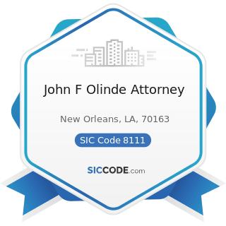 John F Olinde Attorney - SIC Code 8111 - Legal Services