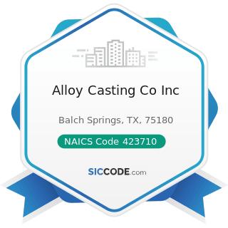 Alloy Casting Co Inc - NAICS Code 423710 - Hardware Merchant Wholesalers