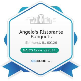 Angelo's Ristorante Banquets - NAICS Code 722511 - Full-Service Restaurants