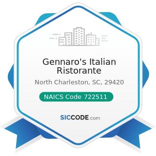Gennaro's Italian Ristorante - NAICS Code 722511 - Full-Service Restaurants